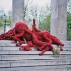 "One of the artists from this year's City of Women: Justyna Koeke, ""Monument"", performance in Paris, 2008."