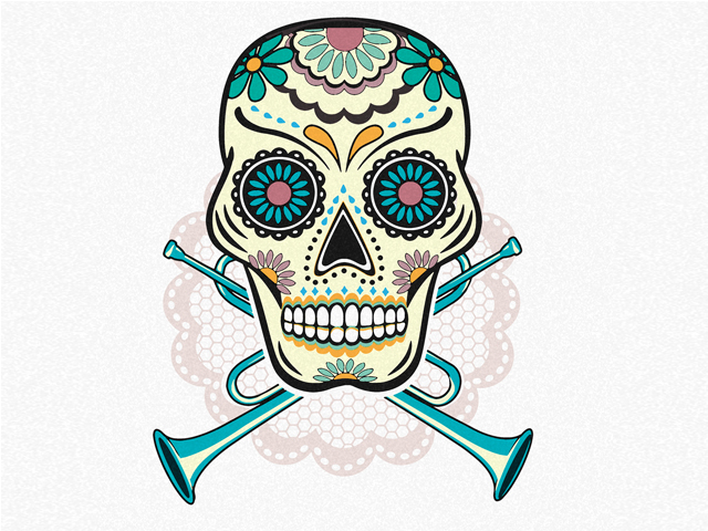 This year we will be celebrating Dia de Muertos with a Balkan brass band / Illustration by Blanka Boskov