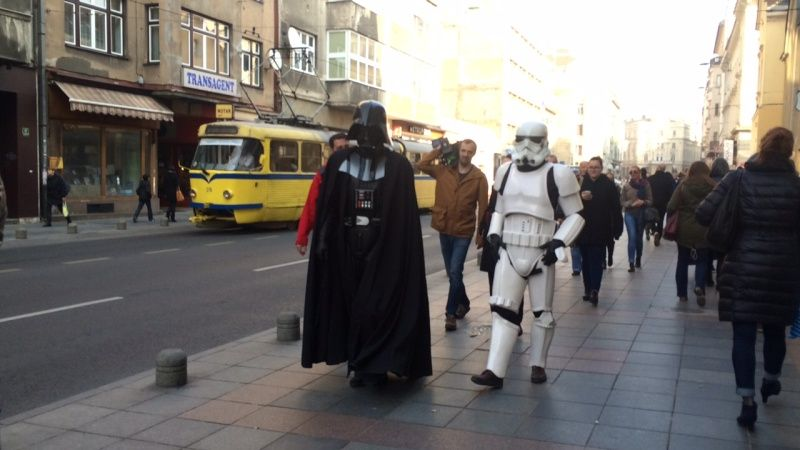 The Empire strikes back, but it's a soft blow. Darth Vader and Stormtrooper in central Sarajevo. Photo: radiosarajevo.ba